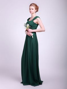 Pleated Chiffon Bridesmaid Dress   Plus and Petite sizes available! Hundreds of styles, tons of colors!