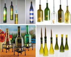 Luminárias de mesa ou pendentes com lampâdas ou velas.