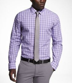 PLAID FITTED COTTON SHIRT at Express