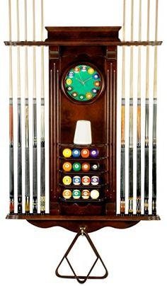 Cue Rack Only- 10 Pool - Billiard Stick & Balll Set Wall Stand w/ Clock Mahogany Finish Iszy Billiards http://www.amazon.com/dp/B001GBRIVQ/ref=cm_sw_r_pi_dp_mhm.ub1HGYYP1