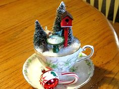 Winter Scene Teacup See how I made mine at www.GardenChick.com #TheGardenCharmers