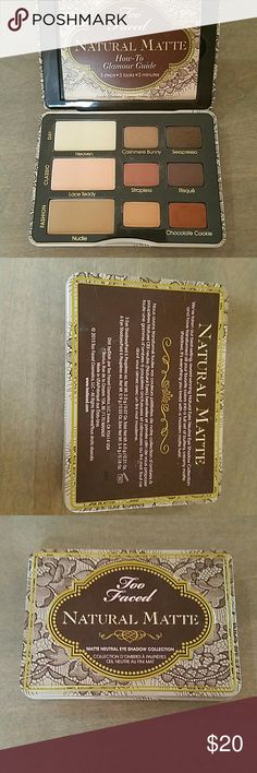Too Faced natural matte A,matte neutral eyeshadow workhorse of 9 neutrals. Used once or twice in perfect shape. This is a must have ..its,the sweatpants of makeup. Great for travel too can get several great looks. Too Faced Makeup Eyeshadow