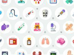 Medical flat icon set by Beresnev