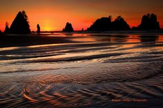 Sunset Over Point of the Arches From Shi-Shi Beach in Olympic Na by Randall J  Hodges on 500px