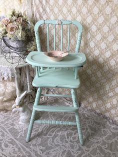 A personal favorite from my Etsy shop https://www.etsy.com/listing/235570163/shabby-mint-green-vintage-high-chair