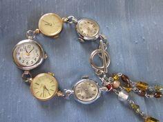 Handmade Watch Bracelet using Vintage Watches  SALE 25 by Fredona