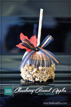 Chocolatey Caramel Apples with Peanuts | Big Bang Bites | bigbangbites.com | Caramel apples dipped in dark chocolate and studded with crunchy toffee and peanuts.
