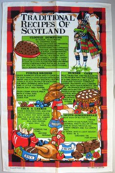 Vintage Scottish Tea Towel - Traditional Recipes of Scotland by Causeway - Linen / Cotton blend - Ba Scottish Recipes, Irish Recipes, Scottish Dishes, Yummy Recipes, Recipies, Cooking Recipes, Dish Towels, Tea Towels, Clootie Dumpling