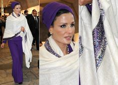 Magnificent Mozah: Qatar's Sheikha Shows Off Bold Colors, Belts And A Strong Silhouette (PHOTOS)