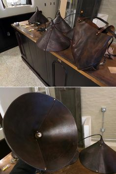 "Hand made leather lamp shades 18"" diameter..."