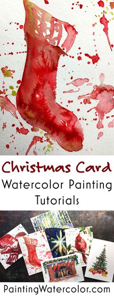 This cute stocking Christmas card takes less than 4 minutes to paint!