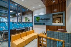 Corporate Interiors, Office Interiors, Reclaimed Wood Paneling, Deck Seating, Brick Cladding, Acoustic Design, Interior And Exterior, Interior Design, Island With Seating