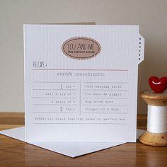Personalised Valentine's Recipe Card