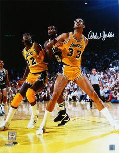 70590c663 Kareem Abdul-Jabbar Signed Los Angeles Lakers With Magic Johnson Action  16x20 Photo