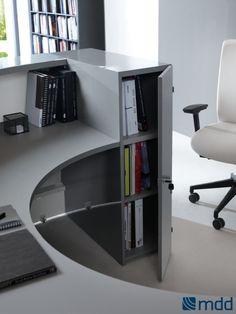 VALDE Countertop Round Reception Desk, Canadian Oak by MDD Office Furniture | SohoMod.com