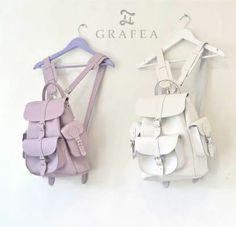 Grafea White and Lavender backpacks www.grafea.co.uk