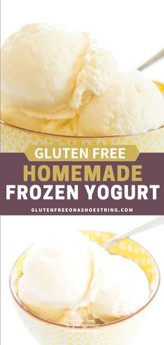 This homemade frozen yogurt is made from Greek yogurt and honey, and without an ice cream maker. Smooth, creamy and ready to be served immediately! #IceCream #GlutenFree #Dessert Summer Dessert Recipes, Healthy Dessert Recipes, Whole Food Recipes, Delicious Desserts, Easy Dinner Recipes, Easy Meals, Easy Gluten Free Desserts, Healthy Gluten Free Recipes, Yogurt Ice Cream