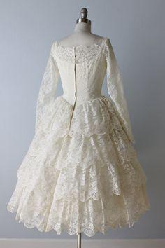 Vintage Lace 1950s Tea Length Wedding Dress