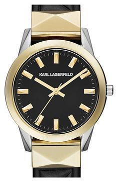 KARL LAGERFELD 'Labelle' Stud Leather Strap Watch, 36mm available at #Nordstrom