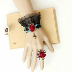 $4.02 Gothic Lace Jacquard Heart Shape and Ribbon Flower Decorated Bracelet With Ring For Women