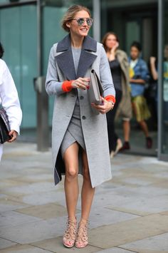 Tailored Gray on Gray Coat with orange accent ~ Olivia Palermo, London Fashion Weeks ~ Kathryn Thomas | The Style Fairy