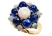 Flower Ring with Opal and Cab. Sapphire (R0801 O/SB) https://www.facebook.com/Antikaworld http://www.antikajewelry.com/