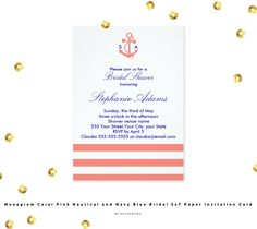 Monogrammed coral pink stripes and nautical anchor with navy blue accent bridal shower invitation. The design features a coral pink and white striped pattern, a coral pink nautical anchor with bride's and groom's initials in navy blue, also the bride and groom's names and the date.