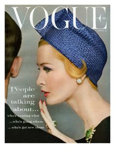 Vogue Cover - April 1959  by Richard Rutledge. Photographer Richard Rutledge captures a unique moment, depicting model Sarah Tom talking into a man's ear. She wears a blue diamond-quilted hat in this cover shot, for the April 15, 1959, issue of Vogue magazine.