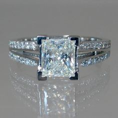 A princess cut #diamond #engagement ring from www.MajestyDiamonds.com