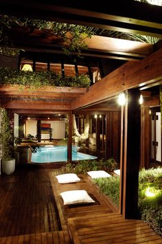 Timber/Green/Pool House - Just The Design Indoor Pools, Lap Pools, Backyard Pools, Pool Decks, Pool Landscaping, Outdoor Spaces, Outdoor Living, Architecture Design, House Fan