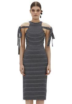 BY JOHNNY. Ebony Stripe Tie Dress | Contemporary Australian Womenswear