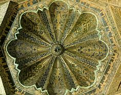 Ceiling of Mihrab Great Mosque of Córdoba, Spain.