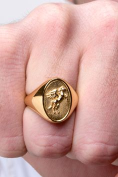 A detailed pegasus signet ring made out of Solid Gold, Solid Gold or Solid Gold. Choose a Yellow Gold, White Gold or a Rose Gold finish. Handmade in our Goldsmith Workshop located in Ath. Mens Gold Rings, Rings For Men, Horse Ring, Horse Paintings, Pastel Paintings, Horse Jewelry, Family Crest, Signet Ring, Silver Man