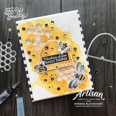 Fancy Friday Shake It February Challenge _ Stesha Bloodhart_Stampin' Hoot! Stampin' Up! Stampin Pretty, Bee Cards, Mary Fish, Shaker Cards, Pretty Cards, Stampin Up Cards, Making Ideas, Cardmaking, Mini