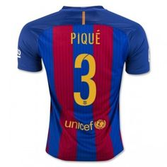 Barcelona 16-17 Gerard Pique 3 Hemmatröja Kortärmad  #Fotbollströjor
