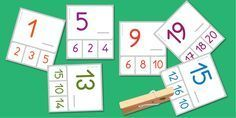 Le nombre qui vient après Apprendre les nombres de 1 à 20, pour apprendre les nombres de 1 à 6, de 1 à 10, de 1 à 20. L'enfant épingle le nombre qui vient après