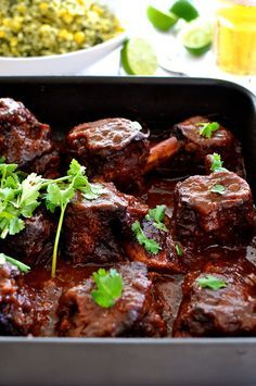 Fiery Fall Apart Mexican Beef Ribs - made with a Chipotles in Adobo sauce, it takes time to cook but is very fast to prepare. Great depth of flavour.