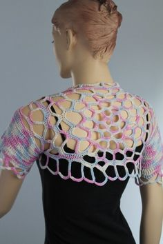 Crochet  Cotton Multicolor  Shrug Bolero / Fall  by levintovich, $75.00