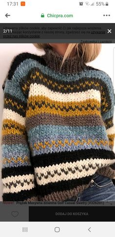 Loose Knit Sweaters, Casual Sweaters, Ugly Sweater, Vest Pattern, Fair Isle Knitting, Clothes Crafts, Pulls, Knitwear, Knit Crochet