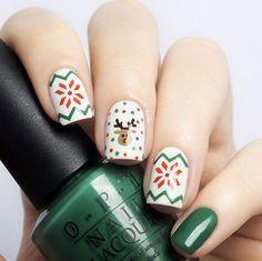Rudolph reindeer nail design by Borsch Nails