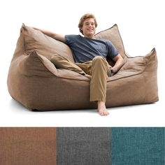 The versatile Lux by Big Joe Imperial Fufton Union Bean Bag is both a loveseat for two and a comfy bed for one. This ultra large bean bag has a removable. Bean Bag Lounge Chair, Bean Bag Couch, Bean Bag Lounger, Bean Bag Chairs, White Bean Bags, Large Bean Bags, Online Furniture Stores, Furniture Deals, Dorm Room Chairs