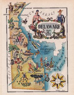 Delaware Map Print / Vintage Map Art / Book Page by Jacques Liozu / Map Wall Decor / State of Map Of Delaware, Delaware State, United States Map, 50 States, Printable Maps, Printable Vintage, Pictorial Maps, Map Wall Decor, Sketches Of People