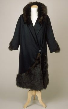 """Black wool velour coat with beaver fur trim, by Cripps, Sons and Co., English (Liverpool), c. 1926-30. Lined with grey wool flannel and black rayon """"silk""""."""