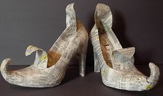 """The """"altering"""" began in earnest with a good sanding to get rid of the shine, then a coat of gesso to ensure adhesion of the torn newspaper mache. A curving point for the toebox, a new tongue and a fun little addition to the upper heel were applied."""