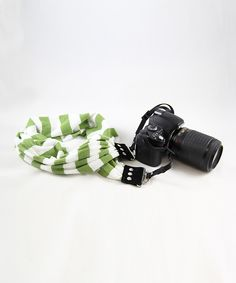 Green & White Stripe Scarf Adjustable Camera Strap