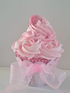 Sugar Plum Christmas Fake Cupcake Photo Prop Collection, Pastel Pink Rosettes and Swirls, Pink Christmas Decorations, Shop Displays on Etsy, $12.00