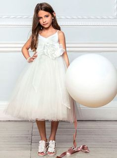 Lydia Ivory Strappy Bridesmaid Dress With Full Skirt - child dresses - young bridesmaids  - Wedding
