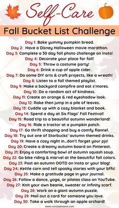 Autumn is truly the dreamiest season of all! This year, get cozy and revamp your self care routine with a festive fall bucket list challenge! Herbst Bucket List, Autumn Bucket List, List Challenges, Fun Fall Activities, Def Not, Autumn Cozy, Autumn Aesthetic, Happy Fall Y'all, Fall Halloween
