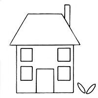 House pattern. Use the printable outline for crafts, creating ...