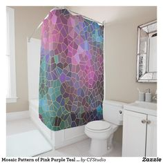 Mosaic Pattern of Pink Purple Teal Blue Green Gold Shower Curtain (sponsored) Boho Style Bathroom, Gold Shower Curtain, Teal Walls, Mosaic Patterns, Colorful Shower Curtain, Custom Shower, Curtains, Blue Green Gold, Green And Gold